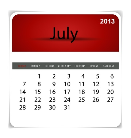 Simple 2013 calendar, July. All elements are layered separately in vector file. Easy editable. Stock Vector - 17350387