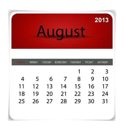 Simple 2013 calendar, August. All elements are layered separately in vector file. Easy editable. Stock Vector - 17350390