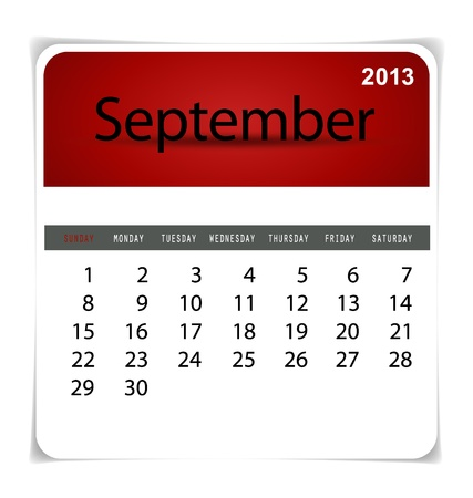 Simple 2013 calendar, September. All elements are layered separately in vector file. Easy editable. Vector