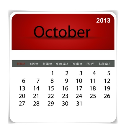 kalender oktober: Eenvoudige 2013 kalender, oktober. Alle elementen zijn afzonderlijk gelaagd in vector bestand. Gemakkelijk bewerkbaar.