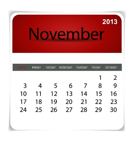 Simple 2013 calendar, November. All elements are layered separately in vector file. Easy editable. Stock Vector - 17350392