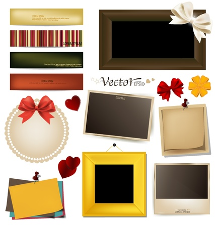 Collection of vintage photo frames, frames and paper on a white background. Template for the design in the style of the scrap-bookings. Stock Vector - 17444378