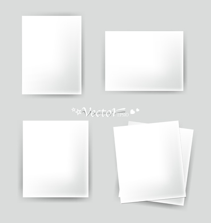 Collection of vaus white papers, ready for your message. Stock Vector - 17444337