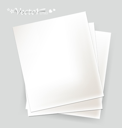 Collection of various white papers, ready for your message. Vector