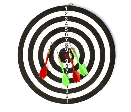 Dartboard with Darts isolated on white background photo