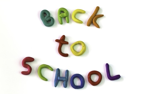 Writing Back to School from colorful clay photo