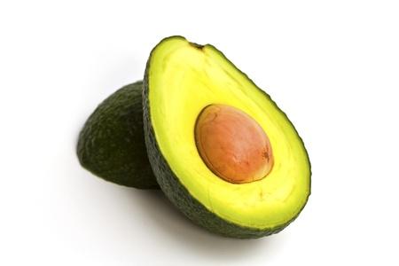 aguacate: Organic Avocado sobre fondo blanco