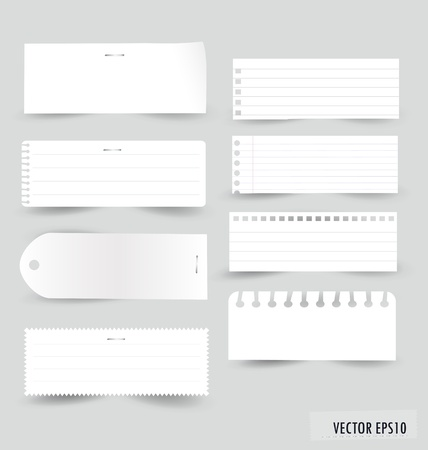 Collection of various white note papers, ready for your message. Vector illustration. Vector