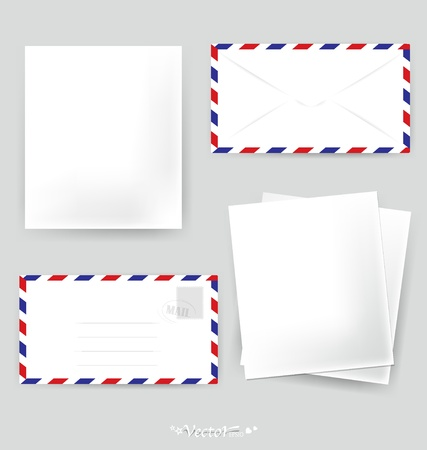 Paper designs: Envelope and various papers, ready for your message. Vector illustration. Vector