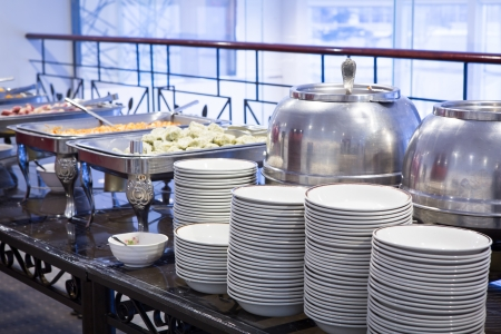 dishware: Buffet Table with dishware