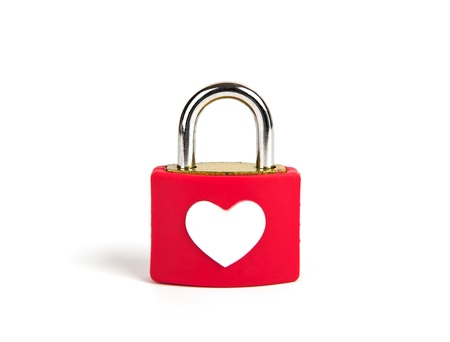 Heart padlock and key on a white background Stock Photo - 17719719