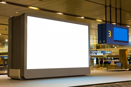 billboard posting: Blank Billboard in airport Editorial