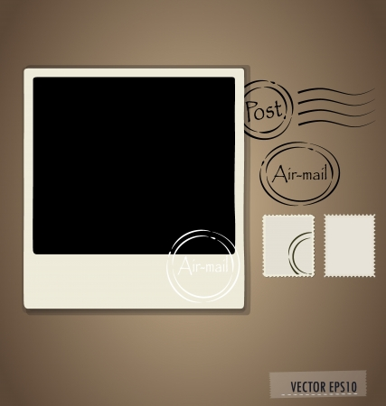 custom letters: illustration of a blank grunge post stamps and photo frame. Illustration