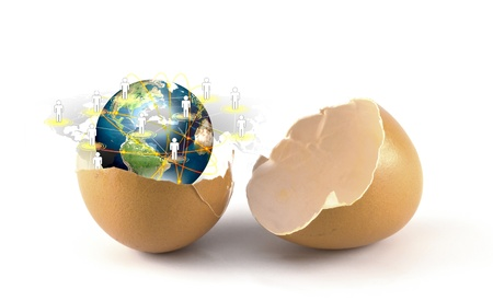Broken egg with Earth of social network (Elements of this image furnished by NASA)