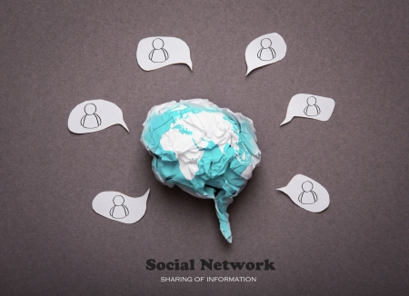 Crumpled paper brain shape with social network concept photo