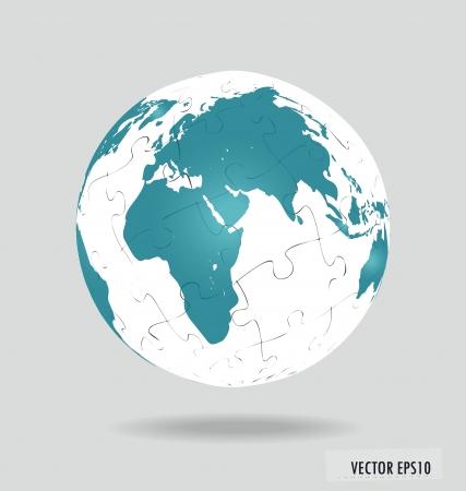 Puzzle globe.  Vector