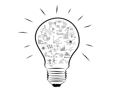expertise concept: Light bulb with drawing graph inside