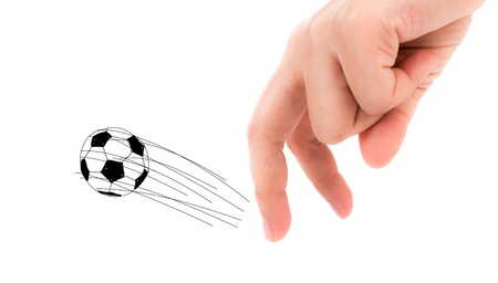 Finger and soccer ball on white  background Stock Photo