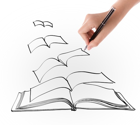 Hand drawing open flying book