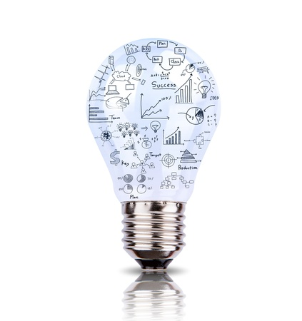 investment vision: Light bulb with drawing graph inside isolated on white background