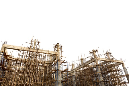 construction mesh: Unfinished building construction site isolated on white background