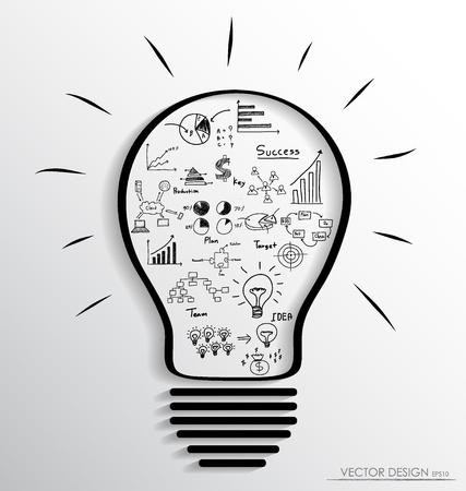 Ampoule avec des éléments d'infographie et graphique. Vector illustration. Vecteurs