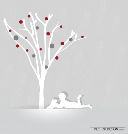 background with children read a book under tree.  Illustration. Vector