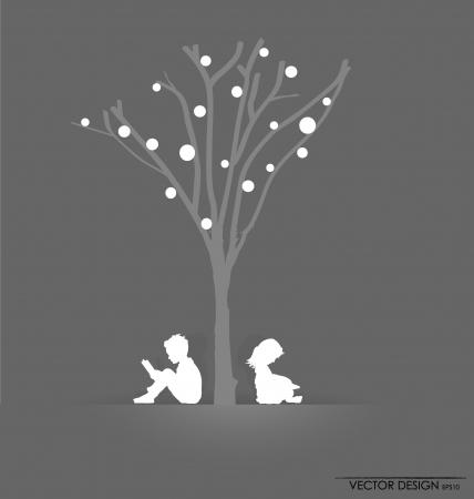 아이들과 함께 배경 나무 아래 책을 읽고. 그림.