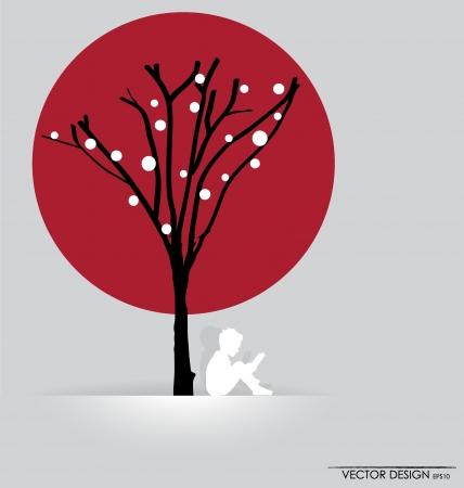 sotto l albero: sfondo con i bambini a leggere un libro sotto l'albero. Illustrazione.