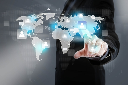 cross linked: Social Network concept : hand point to social network and world map Stock Photo
