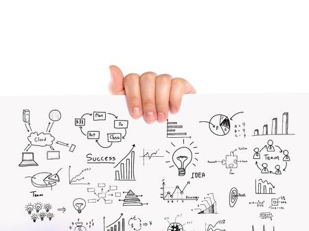 Kezét tartsa üzleti koncepció és a grafikon rajz fehér papírra