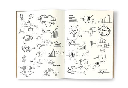 계획: 책에 비즈니스 개념과 그래프 그리기 스톡 사진