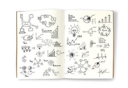 Business concept and graph drawing on book photo