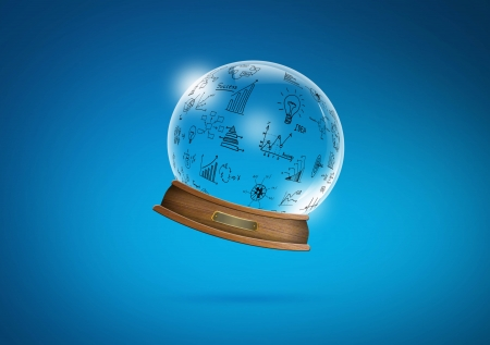 diviner: Graphin  snow-dome against a blue background Stock Photo