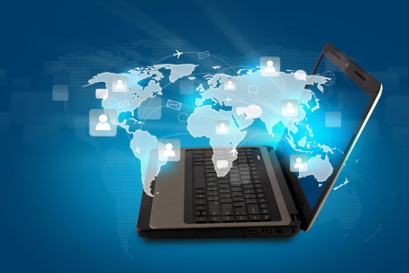 wireless connection: Social networking concept : Laptop with social network on world map
