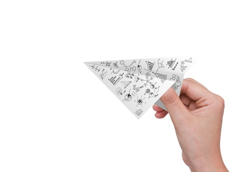 toy plane: Hand hold Graph Paper plane isolated on white Stock Photo