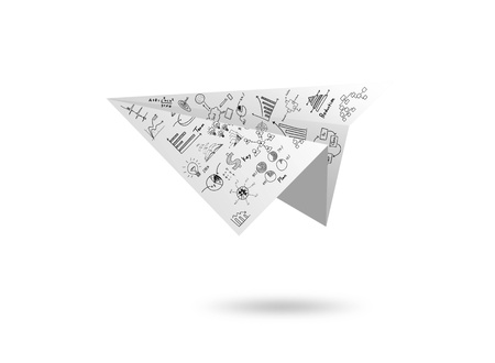 Graph Paper plane isolated on white photo