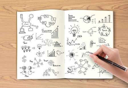 hand writing: Business concept and graph drawing on book