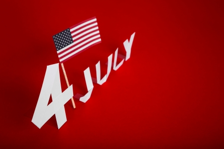True paper cut of American Independence Day 4th July with Flag photo