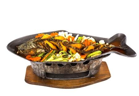 튀김 뱀 향하고 물고기와 신 카레