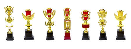 collection of gold trophy isolated on white background photo