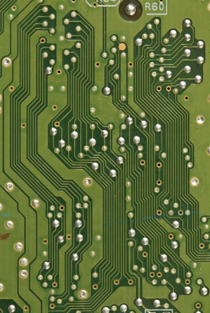 Close up detail image of a printed circuit board photo