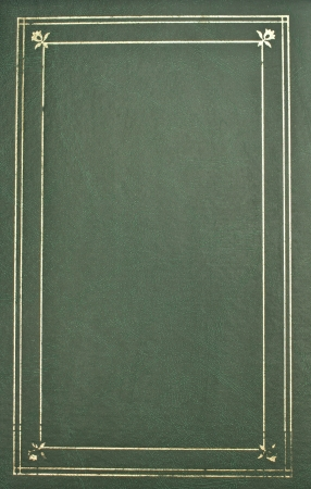 Photo album cover-green leather with gold trim photo