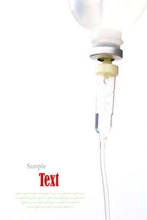 malignancy: Infusion bottle with IV solution on white background with copy space.