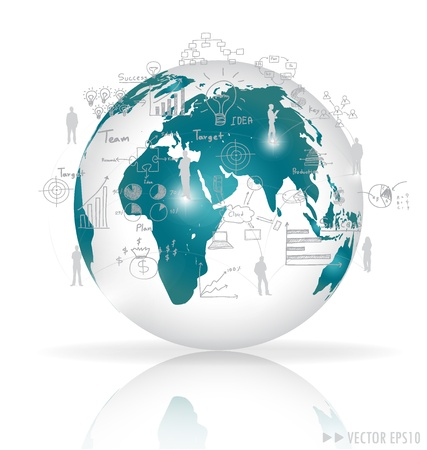 global links: Modern globe with elements of infographics and graph.  Stock Photo