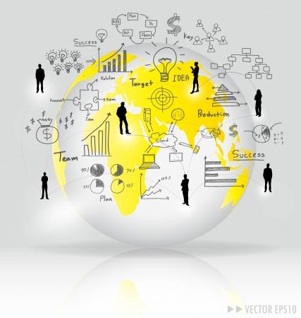 network marketing: Mundo moderno con elementos de la infograf�a y el gr�fico.