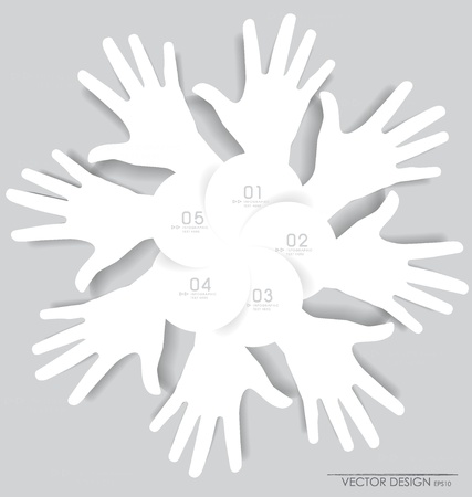 numbering: White hands. Abstract background for design, illustration.