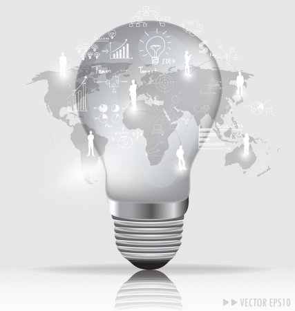 future vision: Light bulb with social networking concept illustration. Stock Photo