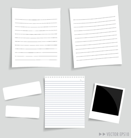 Collection of various white papers, ready for your message illustration. illustration