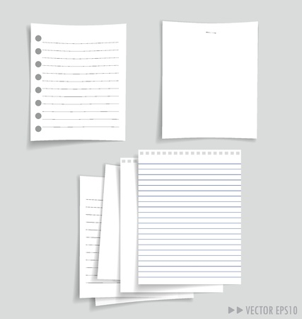 Collection of various white papers, ready for your message. illustration. illustration